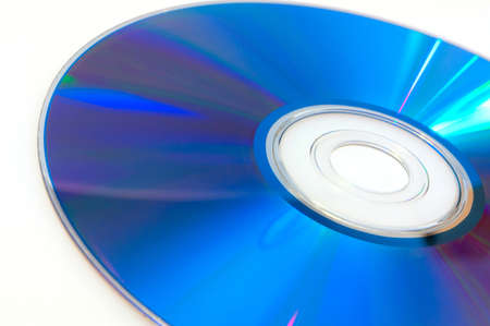 recordable media: Close up of Blue CD Compact Disc on White Background