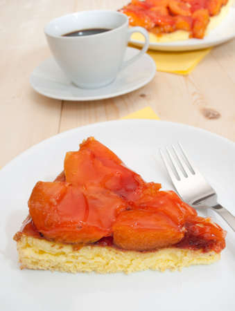 Homemade Dessert -  Cake With Apricots and Jelly and Espresso Coffee photo