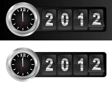 midnight hour: New Year 2012 Sign and Silver Cock in Airport Time Style Illustration
