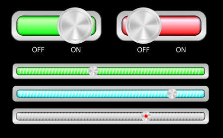 Web Elements - On and Off Switches and Slider in Different Colors Vector