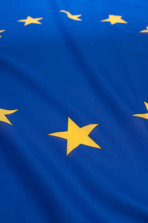 Detail of Silky Flag of Blue European Union EU Flag Drapery - Shallow Depth of Field Stock Photo - 10941427