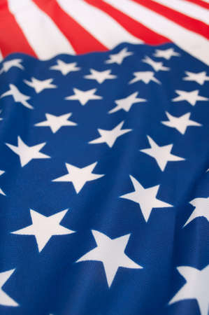 Detail of Silky National Flag of United States of America - USA Flag Drapery - Shallow Depth of Field Stock Photo