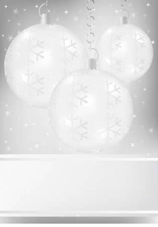 silver balls: Christmas Background - Christmas Baubles on Silver Background Illustration
