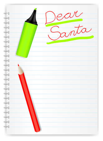 write letter: Letter to Santa - Hand Written Sign, Crayon and Marker on LIned Exercise Book