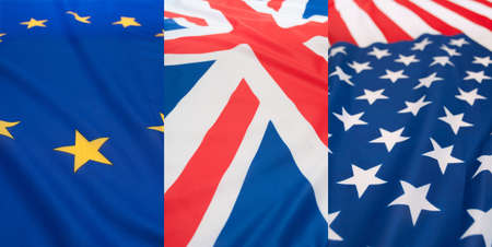 Detail of Silky National Flags of United States of America, Great Britain and European Union photo