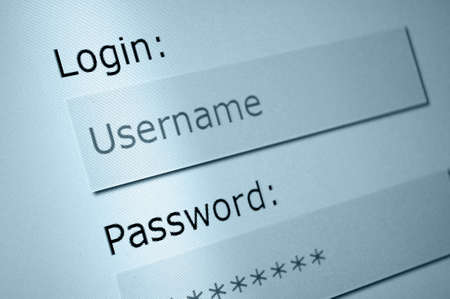 Login - Username and Password in Internet Browser on Computer Screen Stock Photo