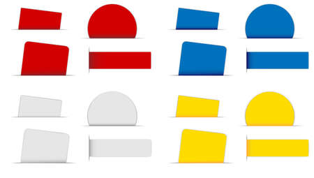 corner tab: Collection of Labels in Different Shapes and Colors on White Background Illustration