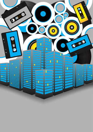 Retro Party Background - Audio Tapes, Vinyl Records and Skyscrapers on Grey Background Vector