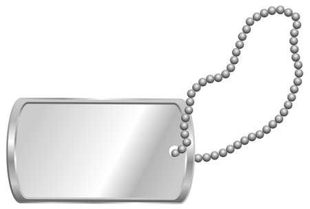 balise: Shiny plaque d'identification m�tallique blanc - Dog Tag isol� sur blanc Illustration