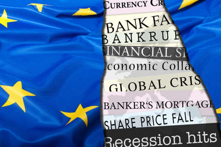 credit union: Financial Crisis in Europe - Newsletters Headlines about Financial Crisis With Flag of European Union