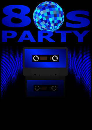 Eighties Party Background - Retro Audio Cassette Tape, Equalizer in Shades of Blue and 80s Party Sign Vector