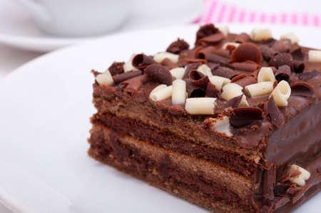 Homemade Chocolate Cake - Brownies on White Plate photo