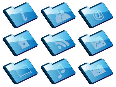 Collection of Icons - Set of Blue Folder Icons Isolated on white Stock Vector - 11230538