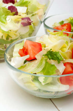 Fresh Salad of Green Vegetables in Glass Bowls photo
