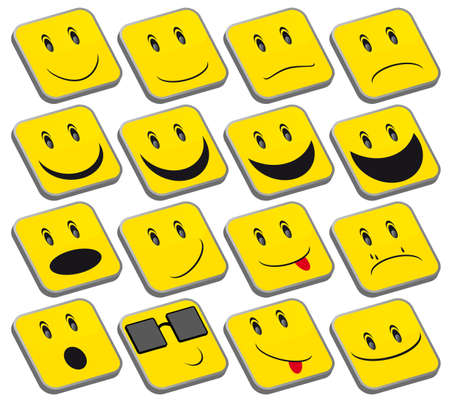 smileys: Set of Emoticons - Collection of Yellow Squared Smileys Illustration