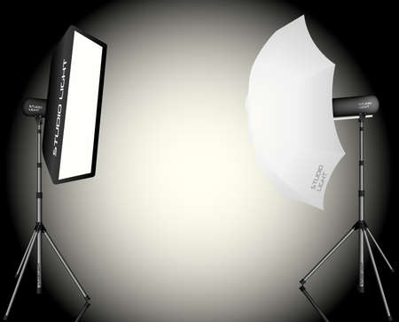 Photographic LIghting - Two Professional Studio Lights with Soft Box and Umbrella on Tripods Vector