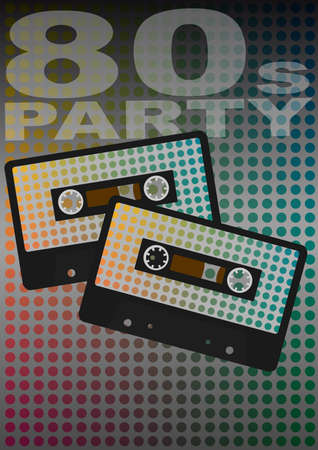 Retro Party - Audio Cassette Tapes on Dotted Background With 80s Party Sign Vector