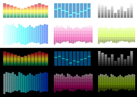 analyzer: Collection of Equalizers Isolated on White and Black Background Illustration
