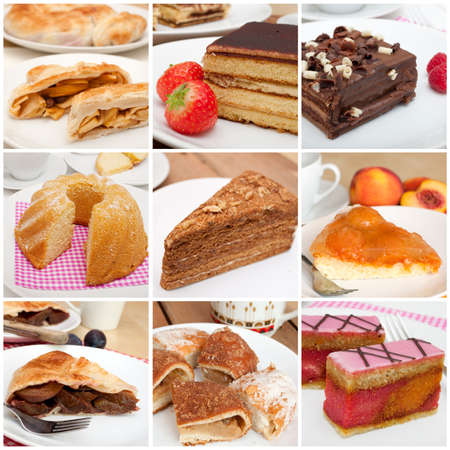 Collage of Nine Various Pies, Dessert and Cakes photo