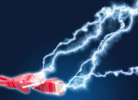 rj45: High speed internet - Red Cables With Lightning on Dark Blue Background Stock Photo