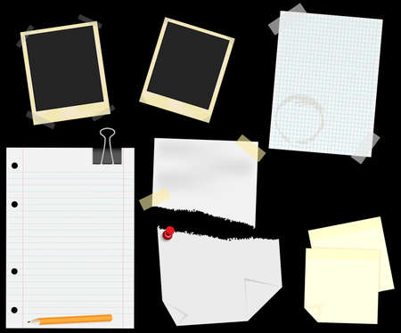 organized: Stationery - Blank Aged Photo Frames, Lined, Squared and Ripped Papers  With Transparent Tape, Thumbtack and Memo Notes - isolated on Black