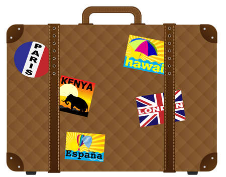 luggage bag: Vintage Brown Trunk With Stickers - Isolated on White