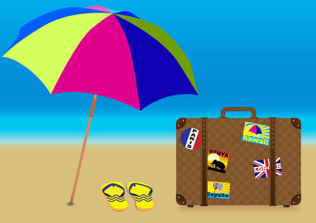 Summer Holiday on the Beach - Parasol, Flip Flops and Suitcase on Empty Beach Vector