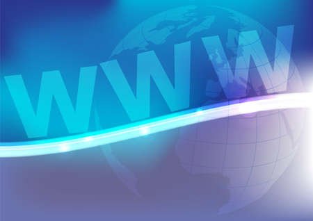 www at sign: Abstract Background - Glowing Waves, Globe and WWW Sign on Blue Background