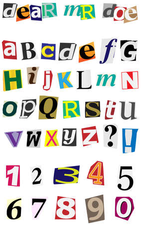 Anonymous Alphabet - Colorful Ripped Letters Isolated on White Stock Vector - 11320817