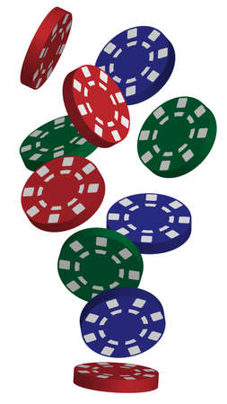 Illustration of Falling Red, Blue und Green Poker Chips isoliert auf weiß