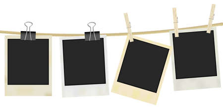 peg: Collection of Old Retro Blank Photo Frames Hanging on Rope - Isolated on White