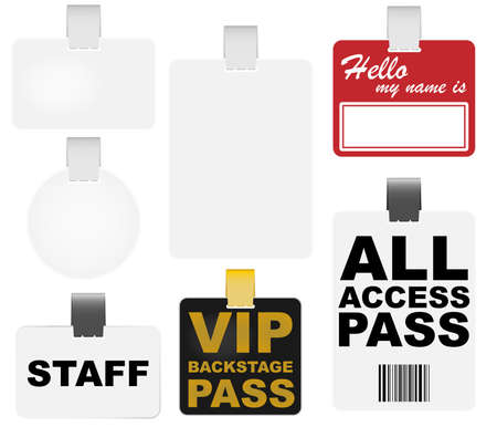 guests: Collection of Badges - Blank, VIP Backstage Pass and Name Tag