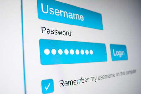 password: Cuadro de inicio de sesión - nombre de usuario y contraseña en el navegador de Internet en la pantalla del ordenador