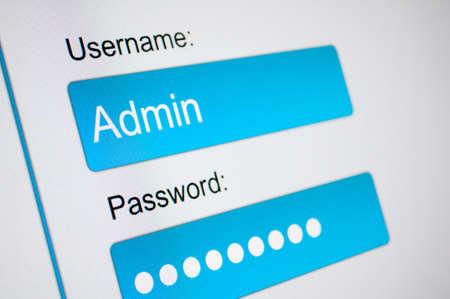 contraseña: Cuadro de inicio de sesión - nombre de usuario y contraseña en el navegador de Internet en la pantalla del ordenador