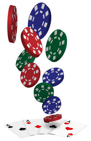 poker chip: Playing Cards - Four Aces and Poker Chips On White Background Illustration