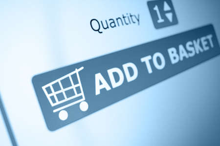 electronic commerce: Online Shopping - Add To Basket Button On LCD Screen Stock Photo