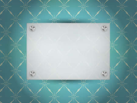 nameplate: Transparent Blank Frame on Blue Vintage Wallpaper