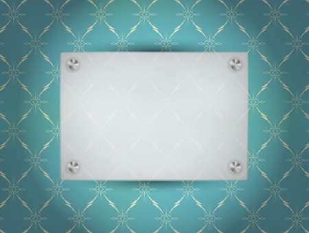 spotlit: Transparent Blank Frame on Blue Vintage Wallpaper