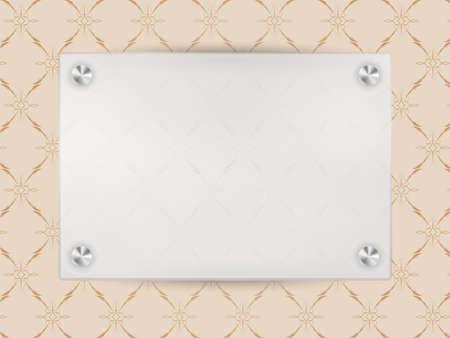 Transparent Blank Frame on Beige Vintage Wallpaper Stock Vector - 11633705