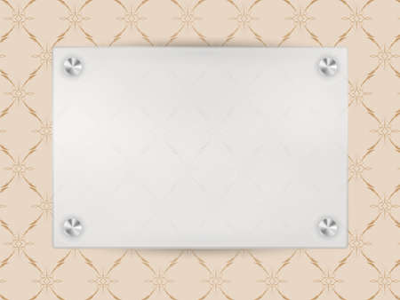 Transparent Blank Frame on Beige Vintage Wallpaper Vector