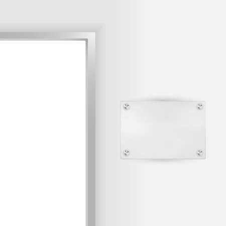 Entry to Office - Open Door and Blank Plate For Company Name Vector