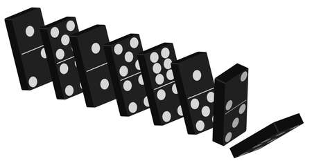 domino effect: Domino Effect - Standing Black Tiles Isolated On White Background