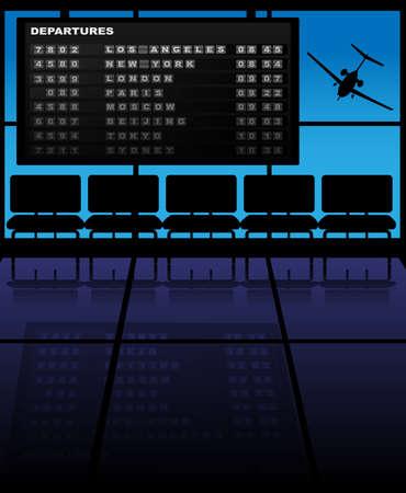 cronograma: Ilustraci�n del aeropuerto - Horario Asientos, Avi�n y salidas