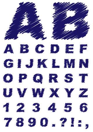 font: Fuente - Cartas Dibujado a mano aislada en blanco