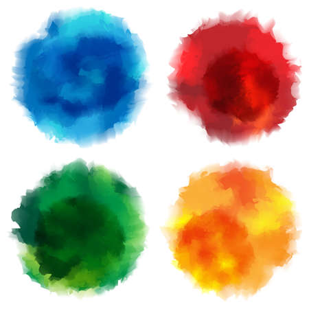 watercolor splash: Collection of Watercolor Stains on White Background