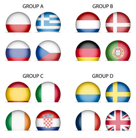 Collection of National Flags - Groups of  European Football Championship 2012 Illustration