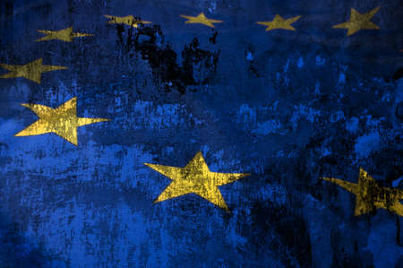 europe closeup: Closeup of Grungy Flag of European Union - EU Flag Drapery Stock Photo