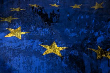 europeans: Primo piano di Grungy bandiera dell'Unione Europea - Drapery bandiera UE