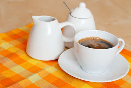 woden: Coffee With Pot and Sugar Bowl on Table