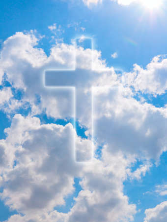redemption: Silhouette of Cross on Blue Summer Sky With Clouds Stock Photo